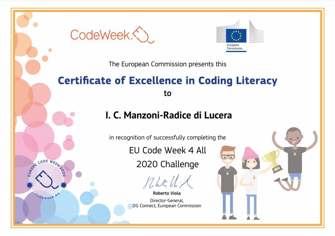 CodeWeek 2020_certificato eccellenza_IC Manzoni-Radice.JPG